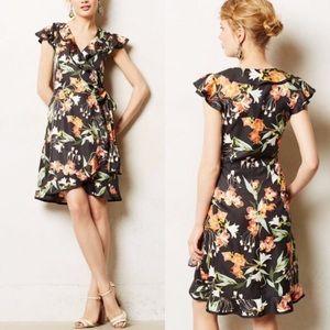 Anthro Black Hibiscus Floral Wrap Dress